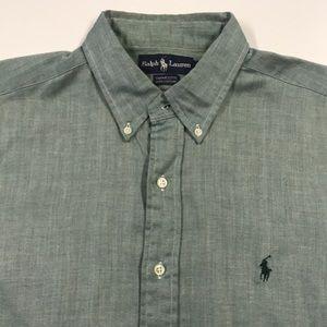 RALPH LAUREN POLO Mens Green Dress Shirt Large 16